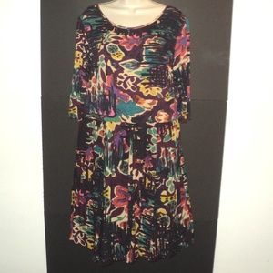 Peruvian Connection Size L Dress Abstract Floral